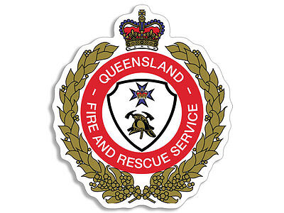 4x4 inch Queensland Fire Crest Shaped Sticker - decal logo australia firefighter