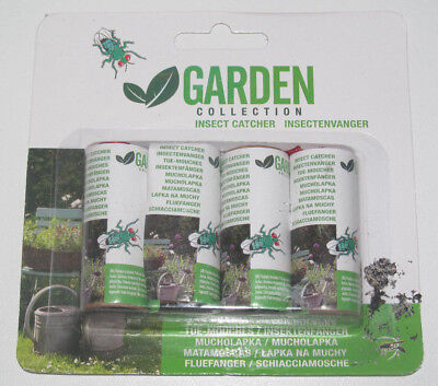 Set de 4 Rouleaux Tue / Anti Mouches 4 cm Garden Collection Insect Catcher NEUF