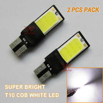 2Pcs Cob T10 White Led W5W Car Parker Wedge Light Side Bulb Work Lamp Dc 12V