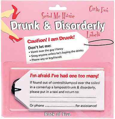 Hen Night | Party Drunk and Disorderly | Girls Night Out Labels | Tags 1-30pk