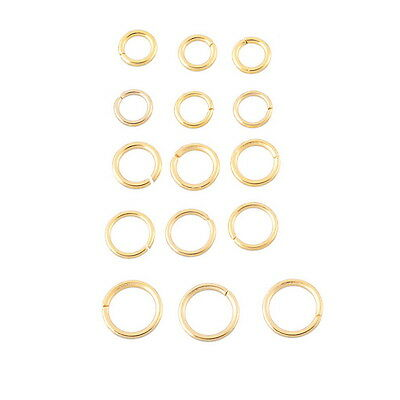 30PCs Stainless Steel Gold Tone Open Jump Rings Jewelry Findings