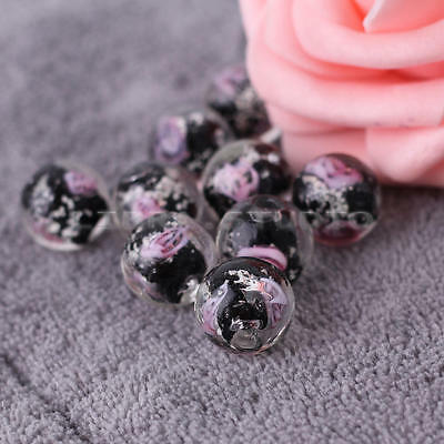 10pcs 12mm Black Faceted Lampwork Flower Glass Loose Beads For Jewelry Making
