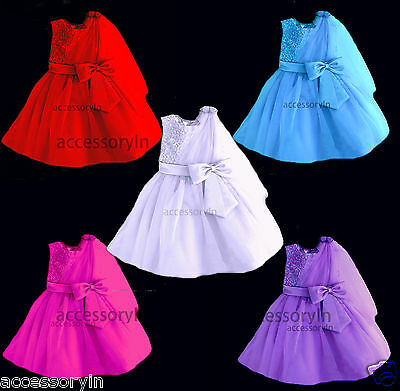 Fancy Stones Work Baby Girls Party Dress Formal Christening Wedding Bridesmaids