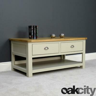 Aspen Oak Coffee Table With 2 Drawers & Shelf / Sage Grey Painted With Oak Top