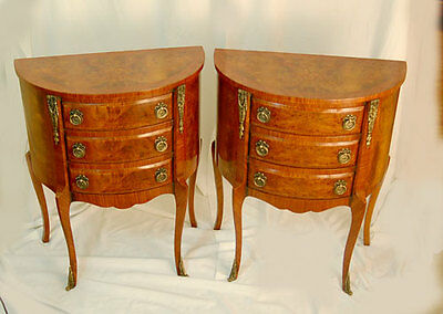 Stunning Pair Burr Walnut Bedside Chest Tables Cabinets