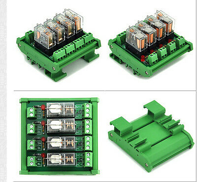 DC 12V Relay DIN Rail Mount 4 SPDT 16A Power Relay Interface Module,OMRON G2R-1