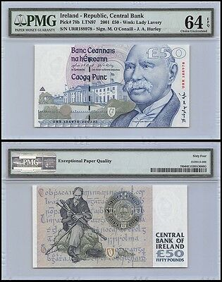 Ireland Republic 50 Pounds, 2001, P-78b, UNC, Lady Lavery, PMG 64 EPQ