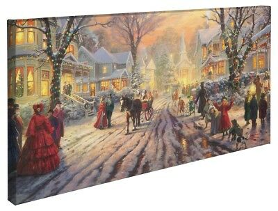 Thomas Kinkade Victorian Christmas Carol 16 x 31 Wrapped Canvas