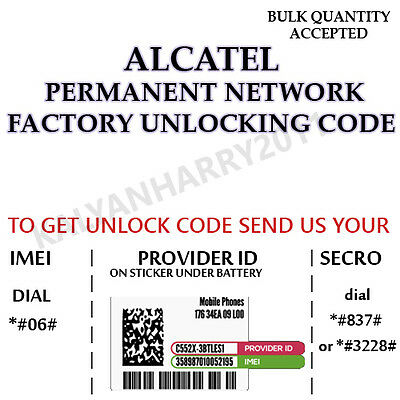 ALCATEL PERMANENT UNLOCK CODE ALCATEL One Touch POP C1 AT&T 4015T
