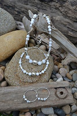 Handmade earring, bracelet & necklace set with Sterling Silver & White Jade