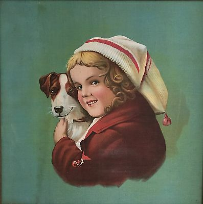 Large 1900 Print on Linen of Adorable Girl Holding a Jack Russell Terrier