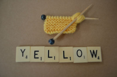 Handmade Knitted  Brooch Yellow Rockabilly Vintage/retro-Shabby-Funky-Hippie