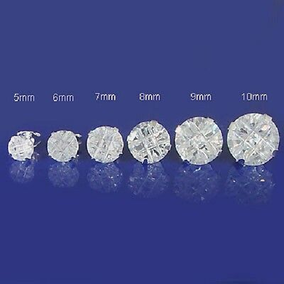 925 Sterling Silver Round Simulated Diamond Single Stud Mens Earring 5-10mm