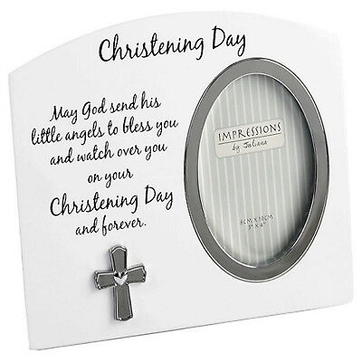 New Baby Christening Day Photo Frame Blessing Silver Cross Gift Boy Girl Unisex