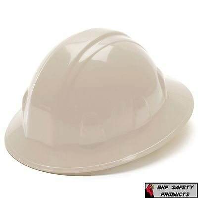 White Full Brim Hard Hat  4 Point Ratchet Suspension Pyramex Hp24110 Safety