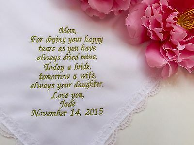 Personalized Wedding Handkerchief For Mother Of Mother/1124