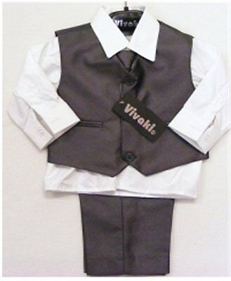 Boys 4 piece suit - Pants, Waistcoat, Shirt and Tie  Shiny Grey - Age 0-8 years)