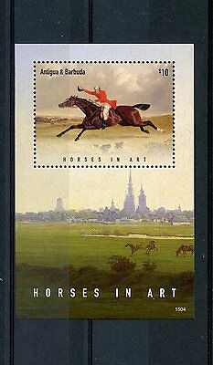 Antigua & Barbuda 2015 MNH Horses in Art 1v S/S I Paintings Farm Animals