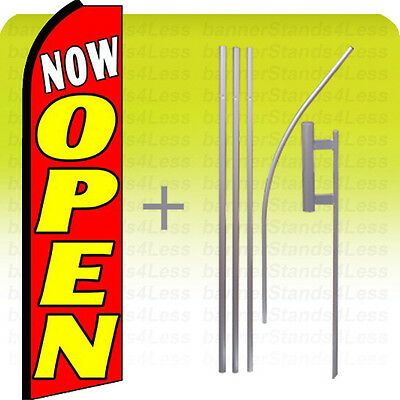 Feather Swooper Flutter Banner Sign Tall Flag 15' Kit - NOW OPEN rq