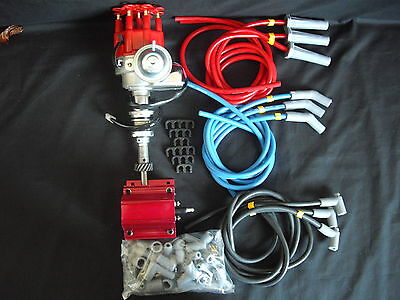 Distributor Electronic Ford 351 Cleveland Early + Coil + Spark Plug Lead Kit