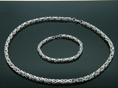 Men's Silver Chunky Link Chain Byzantine Stainless Steel Necklace Set