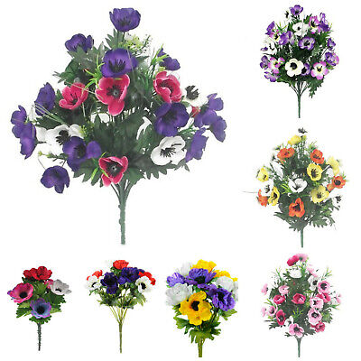 Artificial silk anemone bushbunches purpleredwhiteyellow artificial silk anemone bushbunches purpleredwhiteyellow memorial flowers mightylinksfo