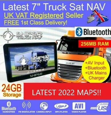 "7"" Truck Sat Nav for Horsebox Lorry Box Latest 2018 Maps, 256MB RAM, 16GB UK"