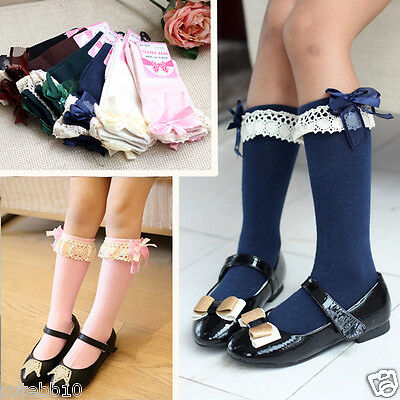 Girls Baby Toddlers Kids Knee High School Socks with Frill Bow 1-5 years
