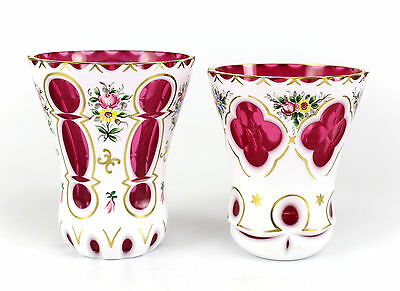Pair of Czech White on Cranberry Art Glass Assorted Vases, c1920 Hand Painted