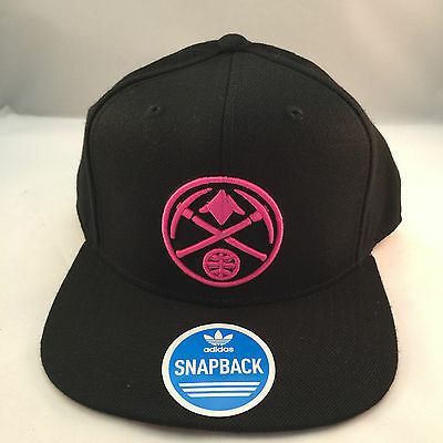 new style 0a4a9 184fc Denver Nuggets Black Pink Clrs Retro Vintage Flat Visor Snapback Cap By  Adidas