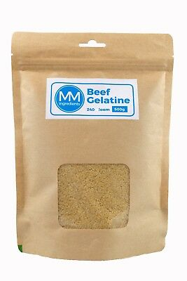 BEEF Gelatine Powder 500G. 240 Bloom. Unflavoured powdered gelatine. Gelatin