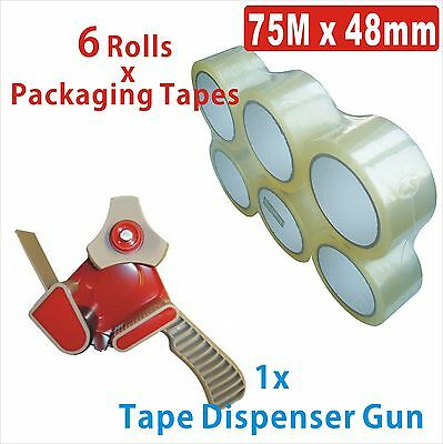 1x Packaging Sticky Tape Dispenser Gun + 6x Rolls 75Mx48MM Clear Packing Tapes