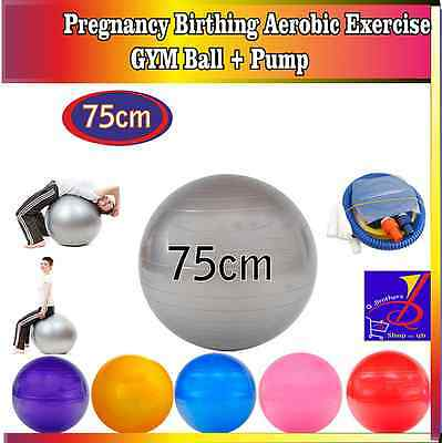 Pregnancy Birthing Aerobic Exercise Fitness GYM Yoga Ball SIZE 75cm UK Seller