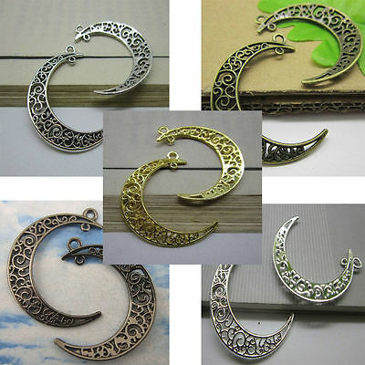 wholesale 10/30pcs Retro Style alloy moon ancient silver charm pendant 40x33mm
