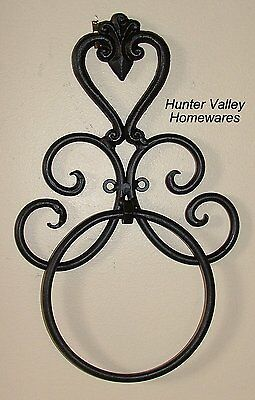 Wrought Iron Bathroom Accessories - Bl/Br - Heart - Wall Towel Ring Black - BA09