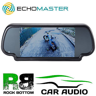 "Echomaster Car Rear View LCD Reversing Mirror & 7"" inch Screen Monitor Built In"