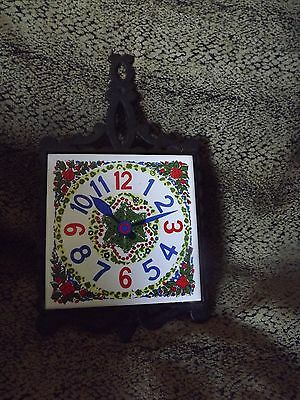 Vintage   Rare Cast Iron & Ceramic Tile CLOCK Footed Trivet Kitchen Wall  JAPAN