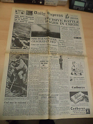 Old Vintage 1940S Newspaper Daily Express 31 May 1941 Ww2 Crete Bismarck