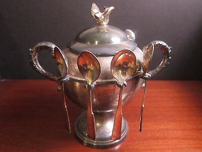 Vintage Silver Plate Spooner Master Sugar Bowl with Spoons