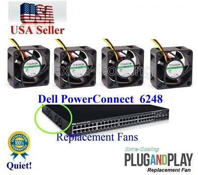 Set of 4x Quiet New Sunon Fans for Dell PowerConnect 6248 (XT800)