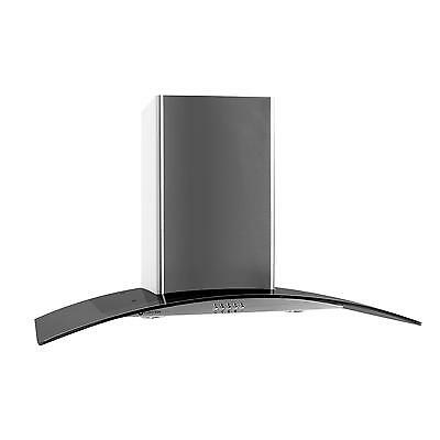 90cm KITCHEN OVEN CURVED CHIMNEY EXTRACTOR GLASS HOOD - GREY *FREE P&P UK OFFER