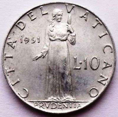 Vatican City 10 Lire 1951 - 1953 Mixed Dates - Pope Pius Xii - Prudence Standing