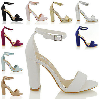 Womens Ankle Strap Sandals Block High Heel Ladies Strappy Bridal Party Prom 3-8