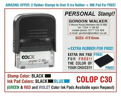 Traxx Self Inking Rubber Stamp 9012 Personal BUSINESS & Rubber INK PAD For Free