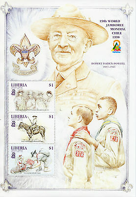 Liberia 1998 MNH 19th World Jamboree Mondial Chile 3v M/S Scouting Boy Scouts