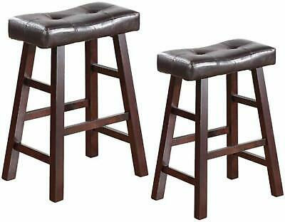 "Set of 2 Dark Espresso Wood Barstools with Espresso Bonded Leather 24"" or 29"" H"