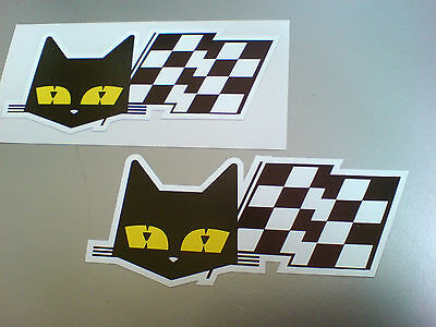 SEV MARCHAL Cat & Flag Retro Vintage Car Stickers Decals 2 off 90mm