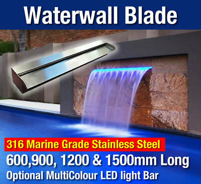 Water Feature Blade - Pool Water Wall Spillway Blade 316 Grade Stainless Steel