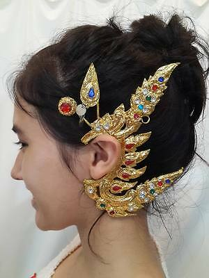 Traditional Thai Style Dance Costume gold EARRINGS crown arts craft RAM VINTAGE