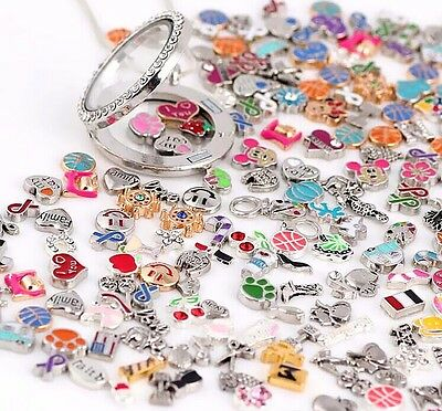 30Pcs New Wholesale Mix Charms Floating for Living Memory Locket Bracelets
